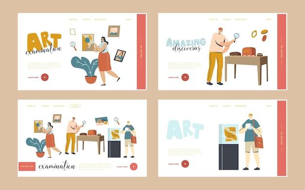 Художественная экспертиза, набор шаблонов целевой страницы для экспертизы шедевров. персонажи, глядя на музейные экспонаты или экспонаты. профессиональная экспертиза культурных ценностей. линейные люди векторные иллюстрации