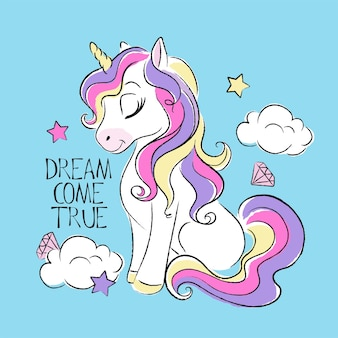 Art fashion illustration drawing in modern style for clothes. cute unicorn. dream come true text.