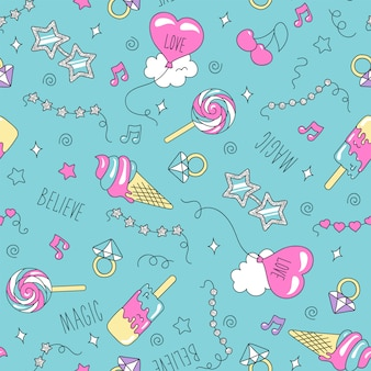Art fashion illustration drawing in modern style for clothes. drawing for kids clothes or fabrics. ice cream and candy pattern.