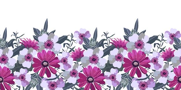 アートフローラルシームレスボーダー。緑の葉と紫、ピンク、白の花。