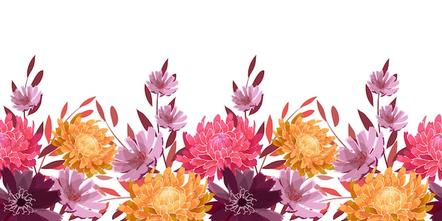 アートフローラルシームレスボーダー。黄色、ピンク、淡い紫色のアスター、菊、小枝、葉。