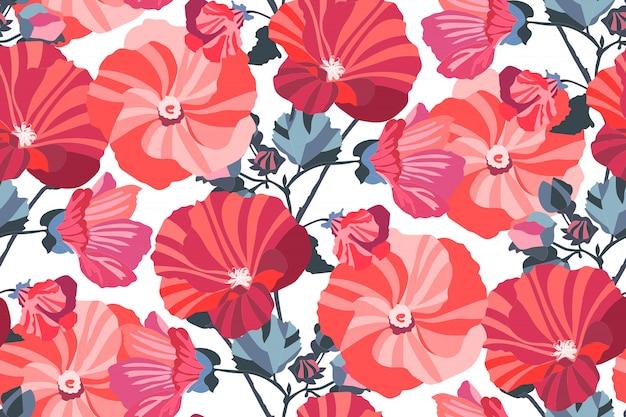 Художественный цветочный бесшовный образец. садовые мальвы красные, розовые, бордовые, бордовые, оранжевые цветы с темно-синими ветвями и листьями, изолированные на белом фоне. для обоев, ткани, текстиля, бумаги.