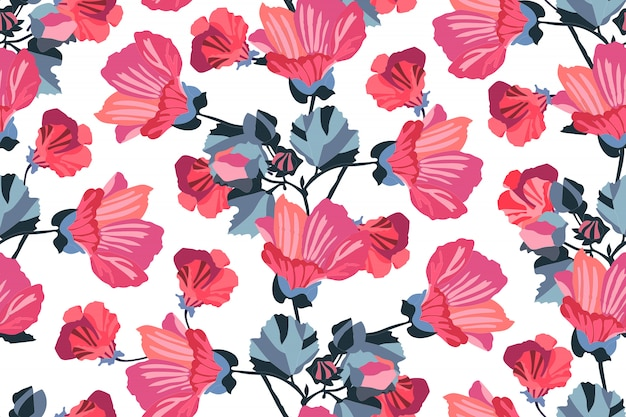 Art floral  seamless pattern. garden mallow red, pink, maroon, burgundy, orange flowers with navy blue branches and leaves isolated on white background. for wallpaper, fabric, textile, paper.