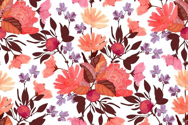 예술 꽃 원활한 패턴입니다. 흰색 배경에 고립 된 나뭇잎입니다.