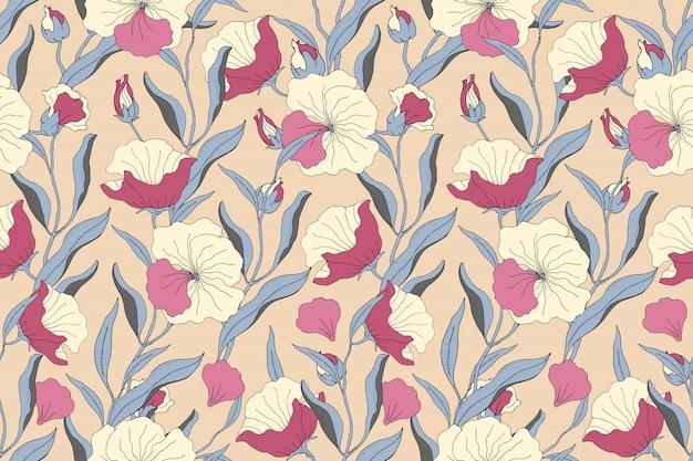 Художественный цветочный бесшовный образец. светло-желтые, розовые цветы с синими ветвями, листья и лепестки, изолированных на бежевом фоне. для домашнего текстиля, ткани, обоев, аксессуаров, цифровой бумаги.