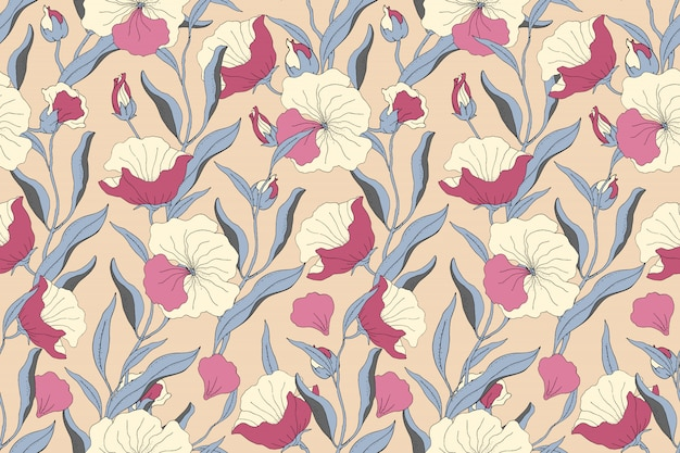 Art floral seamless pattern. light yellow, pink flowers with blue branches, leaves and petals isolated on beige background. for home textiles, fabric, wallpaper, accessories, digital paper.