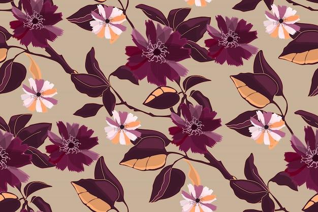 アート花柄シームレス。マルーン、ブルゴーニュ、クラレットの枝、葉、花。アイボリーの背景に分離された要素。壁紙、ファブリック、家庭用およびキッチン用テキスタイルのタイルパターン。
