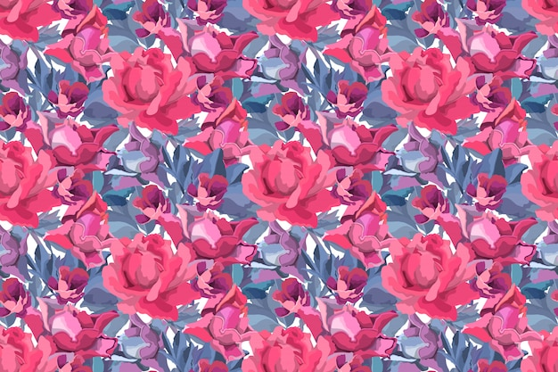 Art floral  seamless pattern. red, burgundy, maroon, purple garden rose, peony flowers and buds, blue branches and leaves isolated on white background.