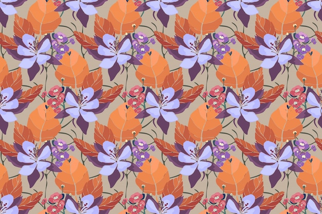 Art floral vector seamless pattern. aquilegia, columbine flowers,  and hydrangea with rufous, rusty leaves.