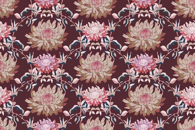 アート花のベクトルのシームレスなパターン。秋のアスターの花、栗色の背景に分離された菊。ファブリック、壁紙、テキスタイル用