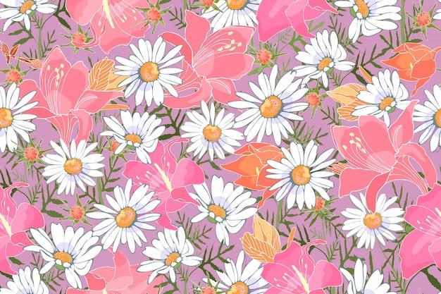 アート花のベクトルのシームレスなパターン。庭の花。白いカモミール、ピンクとオレンジのユリ。布地、ホームテキスタイル、ギフト包装、アクセサリー用の繊細なプリント。