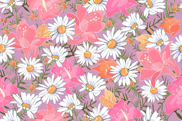 Art floral vector seamless pattern. garden flowers. white camomiles, pink and orange lilies. delicate print for fabrics, home textiles, gift wrapping, accessories.