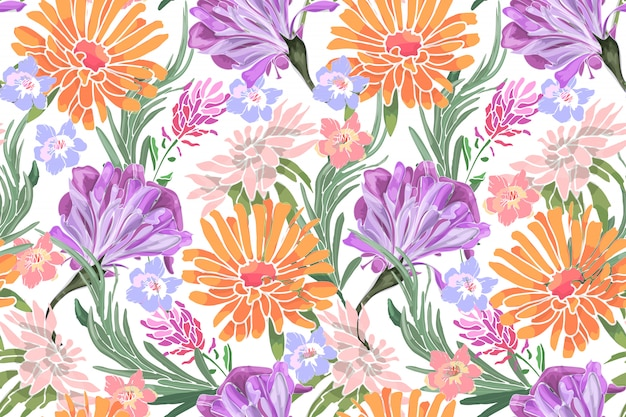 Art floral vector seamless pattern. morning glory, ipomoea, lavender, asters, rosemary, chrysanthemums, golden daisy.