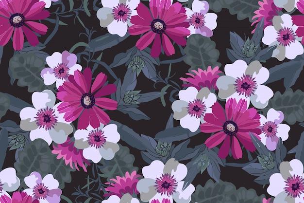 アート花のベクトルのシームレスパターン。緑の葉とピンクと白の花。