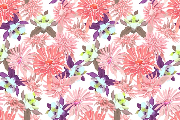 Art floral vector seamless pattern. pink asters, chrysanthemums, purple and yellow columbine.