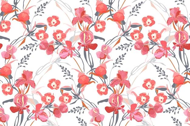 アート花のベクトルのシームレスなパターン。ピンクのサツマイモ、牡丹、アイリスの花、灰色とオレンジ色の枝、白い背景で隔離の葉。ファブリック、インテリアテキスタイル、カードのタイルパターン。