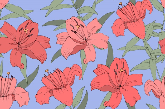 Art floral vector seamless pattern. pink lilies with green leaves
