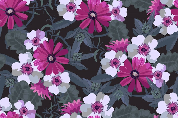 Art floral vector seamless pattern. pink and white flowers with green leaves.