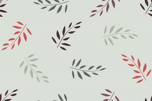 Art floral vector seamless pattern. red, olive branches with leaves isolated on light grey. for fabric, wallpaper design, wrapping paper.