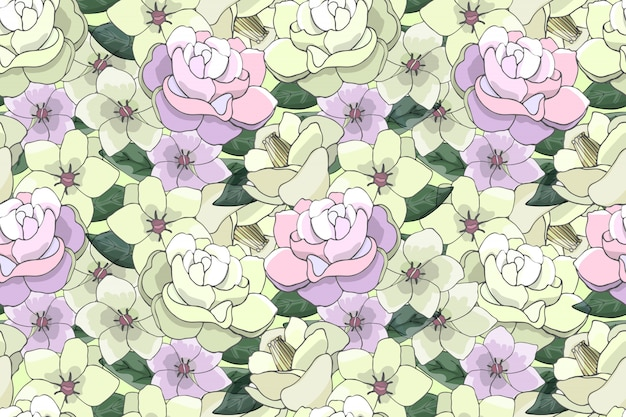 Art floral vector seamless pattern with light yellow and pink flowers.