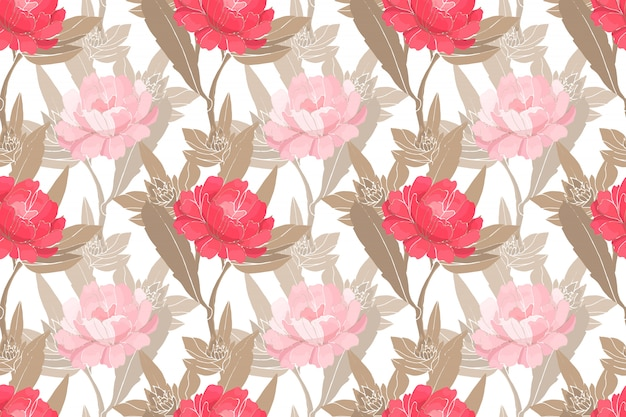 Art floral vector seamless pattern with peonies.