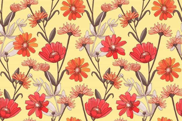 赤とオレンジ色の花を持つアート花ベクトルシームレスパターン。