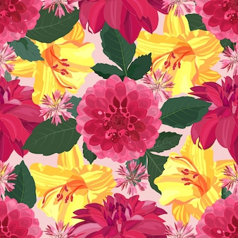 Art floral vector seamless pattern with red dahlias and yellow lilies. garden flowers with green leaves