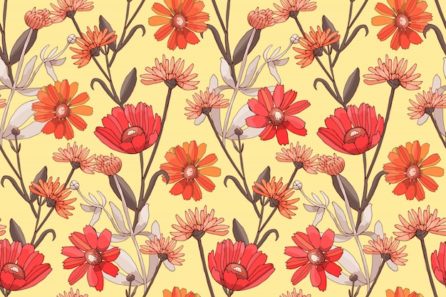 Art floral vector seamless pattern with red and orange flowers.