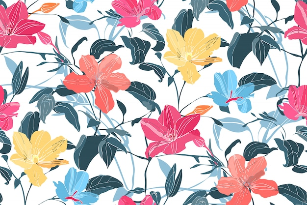 Art floral vector seamless pattern