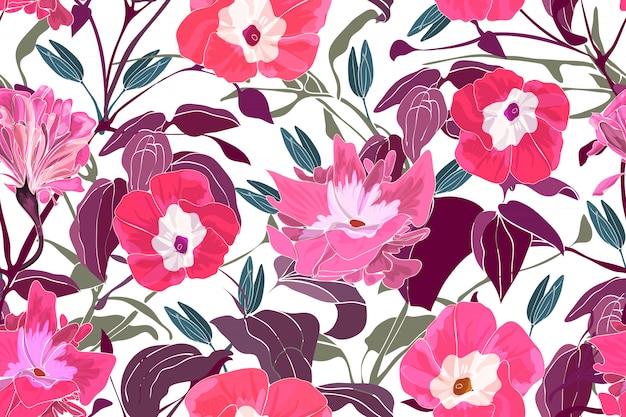 Художественный цветочный вектор бесшовный фон