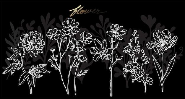 アートフラワー手描きとラインアートイラストと白黒スケッチ