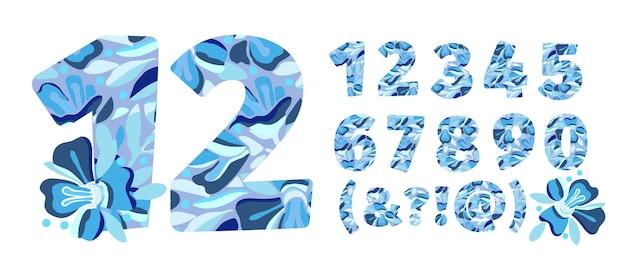 Арт цветочные векторные цифры от 0 до 9 рождественский узор в виде жирных цифр