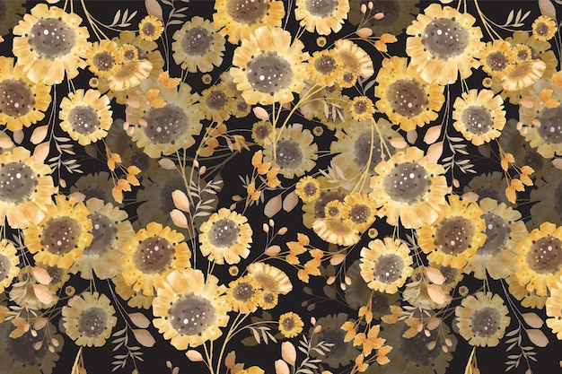 Art of flower in watercolor style wallpaper image in a botanical seamless pattern