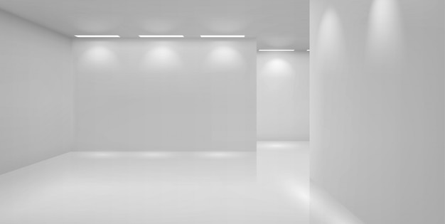 Art gallery empty room with white walls and lamps