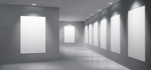 Art gallery exhibition hall empty interior vector