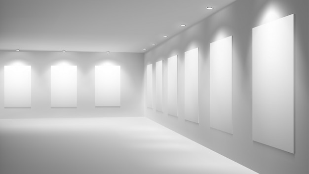 Art gallery or museum with empty exhibition hall vector interior