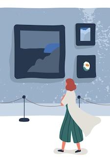Художественная галерея посетитель плоский векторные иллюстрации. женский художественный критик мультипликационный персонаж. выставка современной живописи, экспозиция современной живописи, презентация произведений искусства. музейный интерьер. культурный досуг.