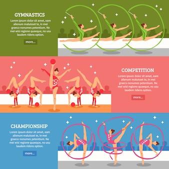 Художественная гимнастика горизонтальные баннеры Бесплатные векторы