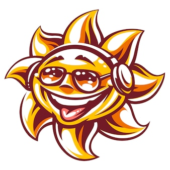 Art of happy sun in sunglasses and headphones enjoing music and summer vibes. summer party sun character, symbol of youth and carefree. vector illustration isolated on white.