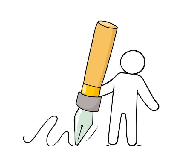 Значок искусства - человек, держащий большую ручку. рисованный мультфильм