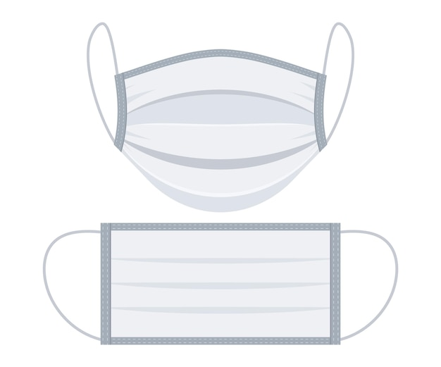 アート&イラストコロナウイルス対策マスク。医療用保護マスク。サージカルフェイスマスク、ベクトルイラスト。安全呼吸マスク。医療呼吸器