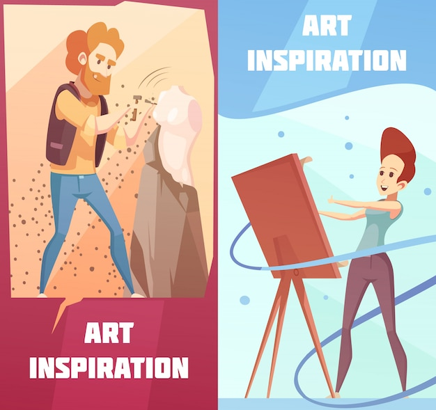 Art inspiration cartoon banners set