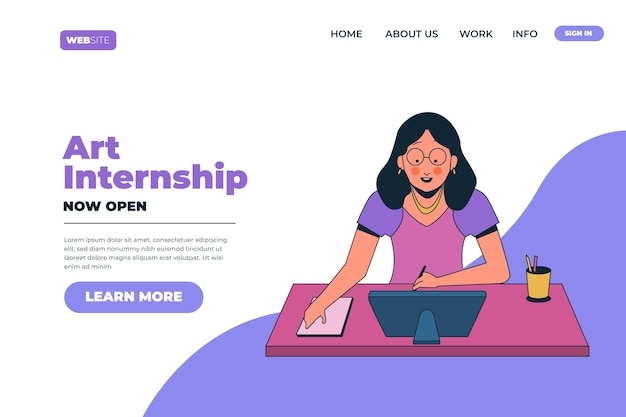 Art internship job landing page
