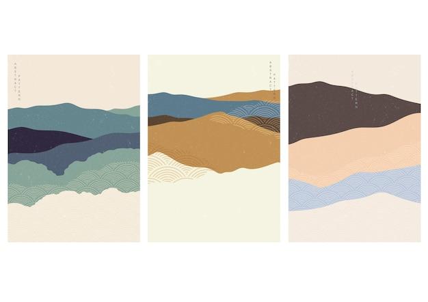 日本の波のパターンとアート風景の背景。曲線要素を持つ抽象テンプレート。ビンテージスタイルの山林レイアウトデザイン。