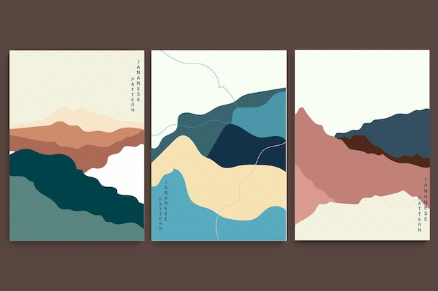 일본 물결 무늬 예술 풍경 배경