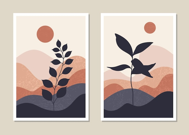 예술 풍경 벽 세트. 추상 풍경