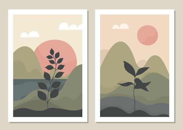 예술 풍경 벽 세트. 식물. 추상 풍경