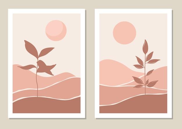 Художественный пейзажный набор стен. ботанический. абстрактный пейзаж