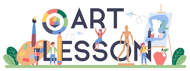 Art lesson typographic header illustration