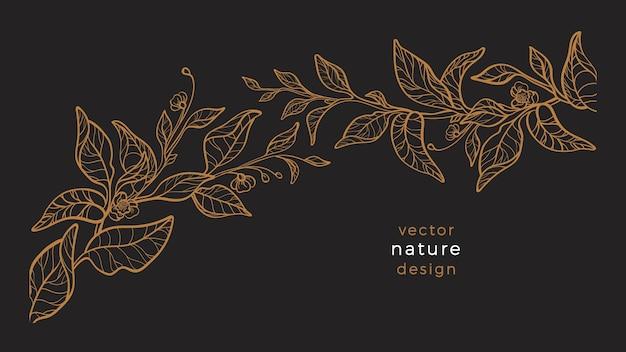 꽃 식물과 아트 라인 자연